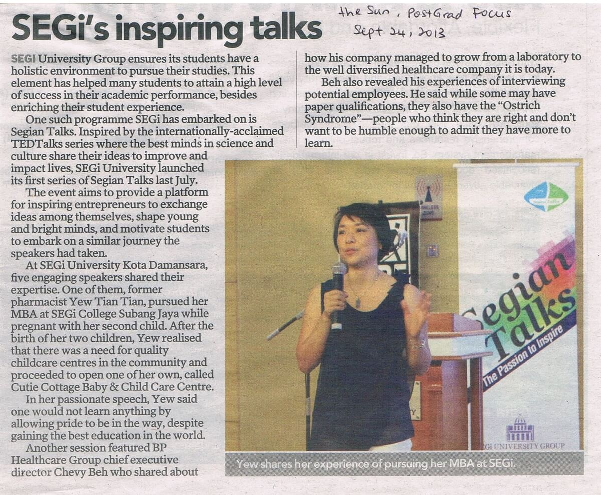 Segi Inspire Talk 2013